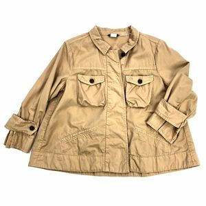 J Crew | Khaki Crop Utility Jacket Button Down
